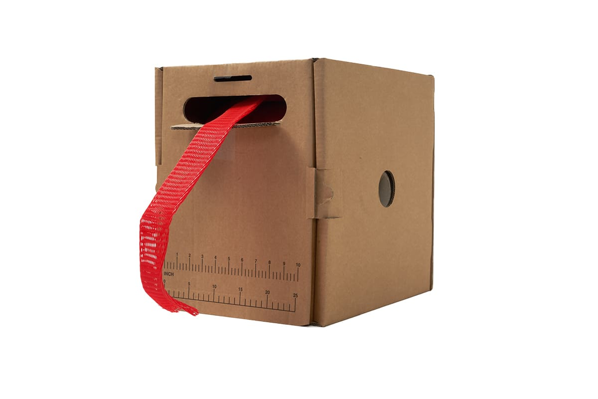 Plastic buisnet in dispenserdoos rood - 50-100mm x 100m