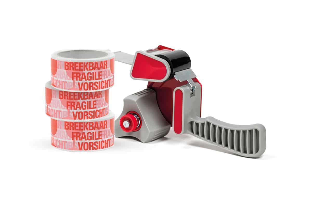 Waarschuwingstape ''Breekbaar'' rood-wit - 50mm x 66m (6 st) + dispenser