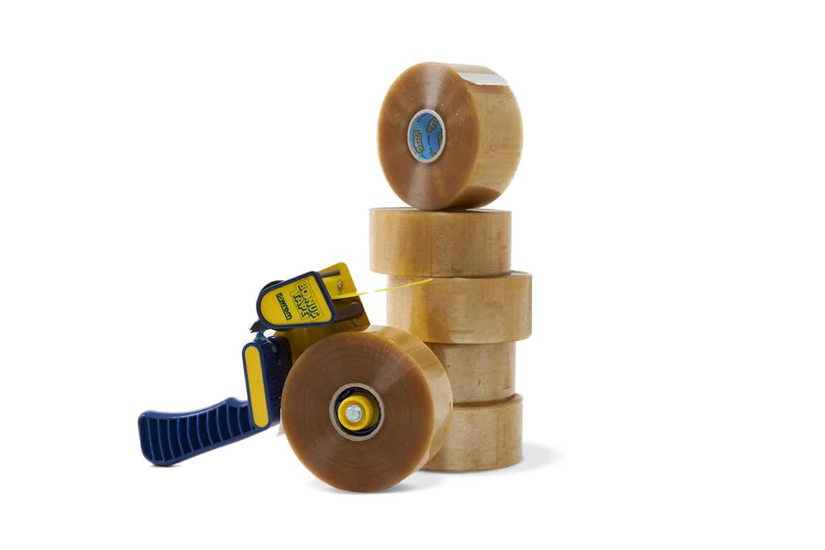 Bonus tape dispenser + 36 rol PP acryl tape transparant 200m