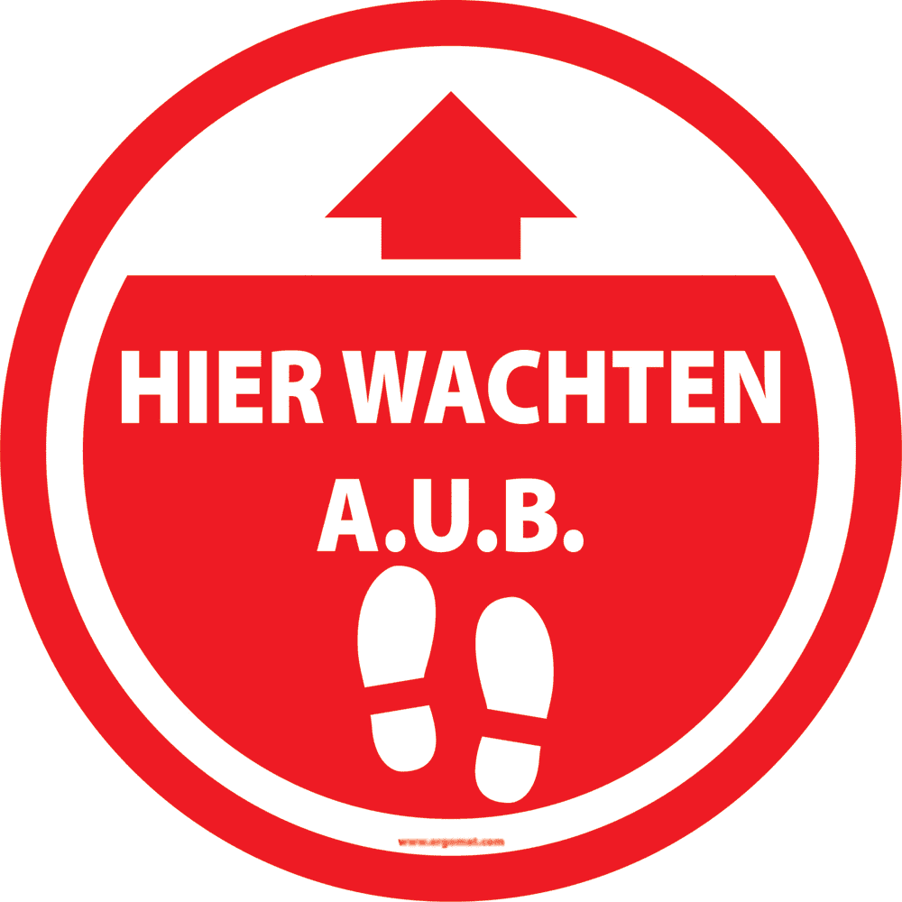 Sticker 'Hier wachten A.U.B.' rood - 15cm (4 st)