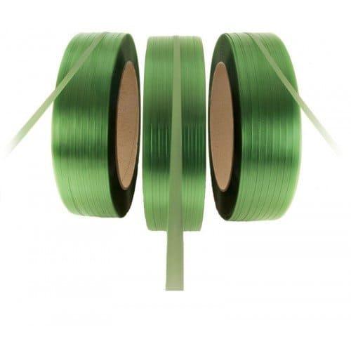 PET omsnoeringsband groen - 12mm x 2.500m x 0,60mm