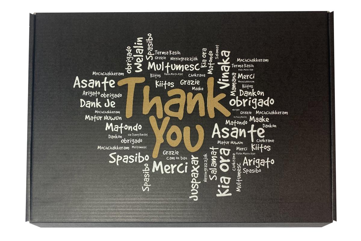 Brievenbus doosje zwart ''Thank you'' - 310 x 220 x 28mm (A4)
