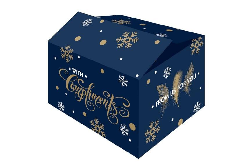 """Kerstdozen """"for you"""" blauw - 390 x 290 x 300mm"""
