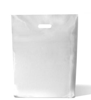 LDPE draagtassen wit - 450 x 510 + 2 x 40mm - 50my (500 st)