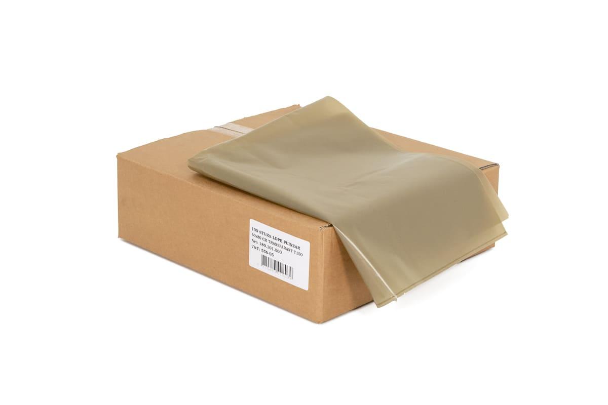 LDPE puinzakken transparant - 60 x 80cm x 140my