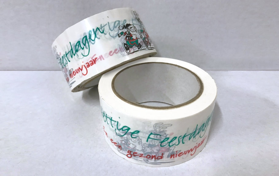 "Kerst tape set ""Prettige Feestdagen"" - 50mm x 66m (3 st) + dispenser"