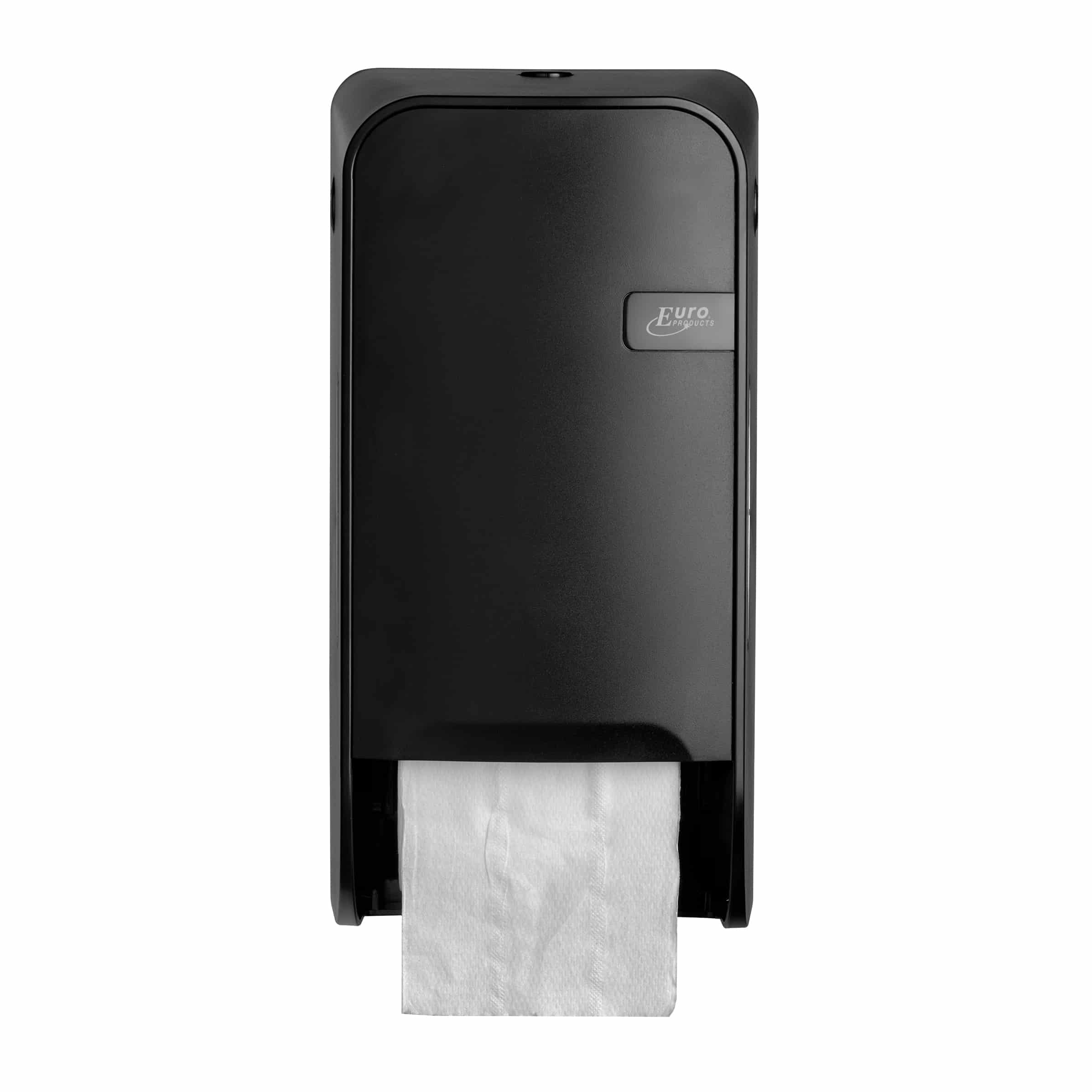 Quartz duo toiletrolhouder met remsysteem zwart - doprol