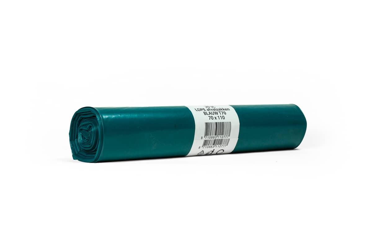 LDPE afvalzakken blauw 110 liter - 90 x 110cm x 70my (20 st)
