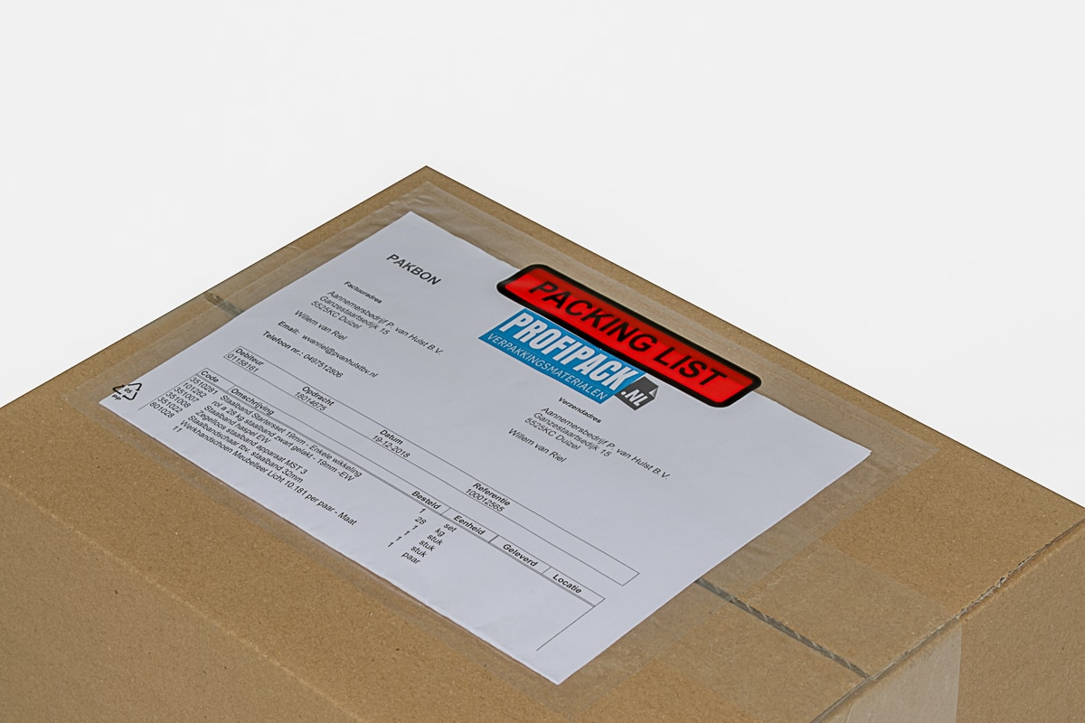 Paklijst enveloppen Packing List - 165 x 122mm (1.000 st)