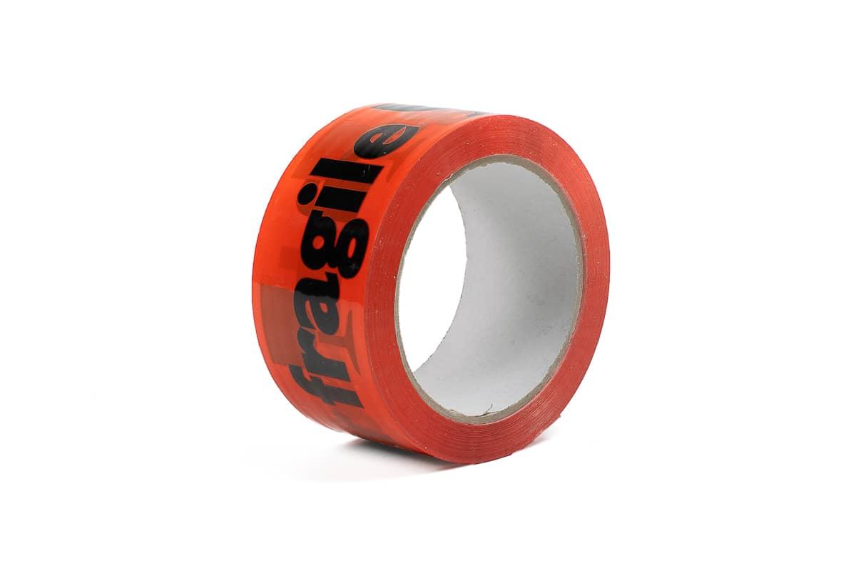 PP acryl waarschuwingstape 'breekbaar' oranje - 50mm x 66m (12 st) + dispenser