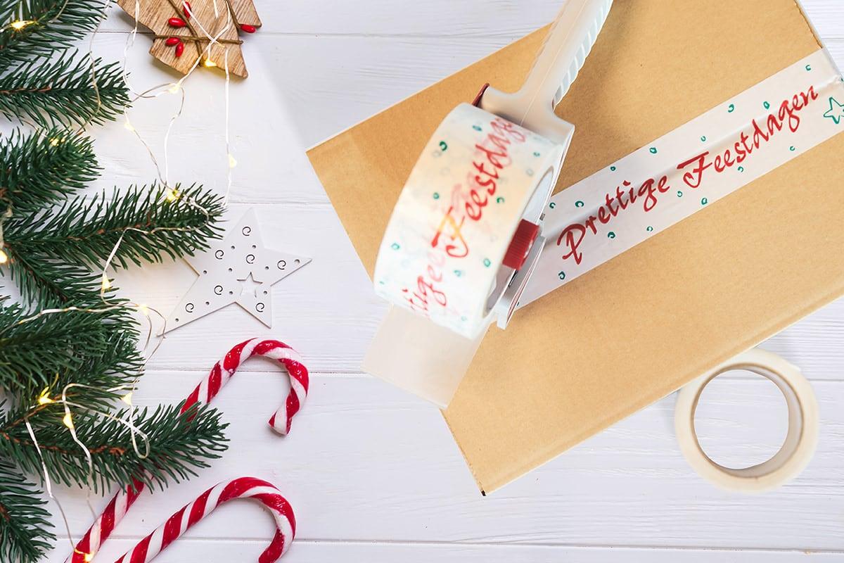 PVC kerst tape ''Prettige Feestdagen'' 50mm x 66m