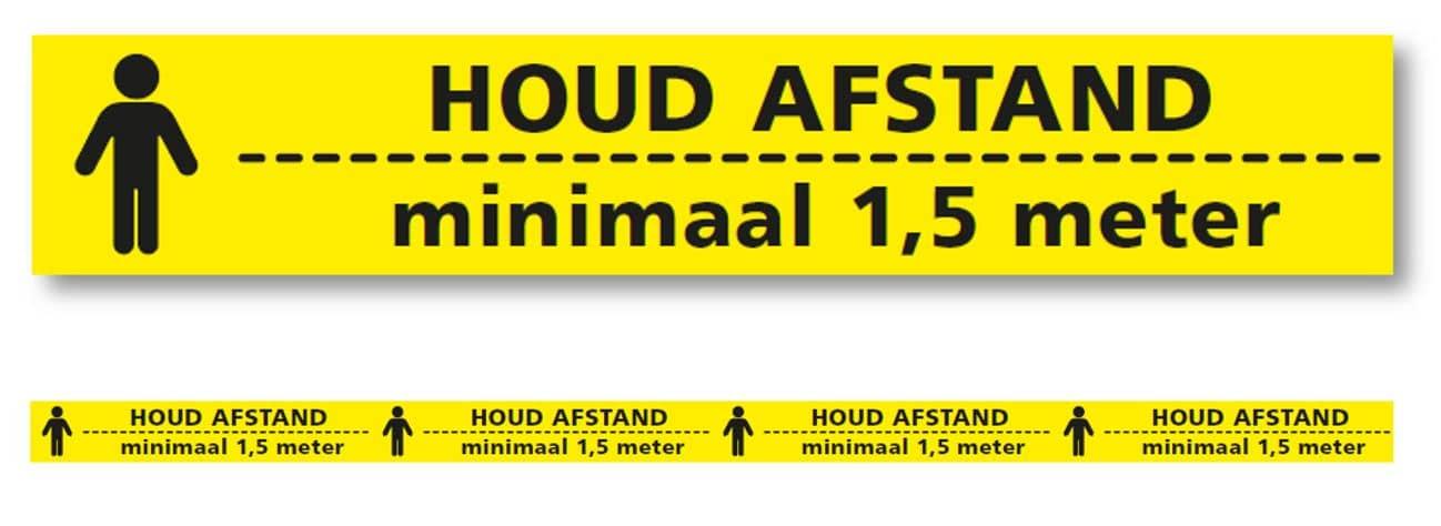 Vloermarkeringstape 'houd 1,5 meter afstand' geel/zwart - 33m