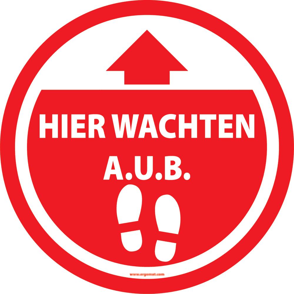 Sticker 'Hier wachten A.U.B.' rood - 15cm