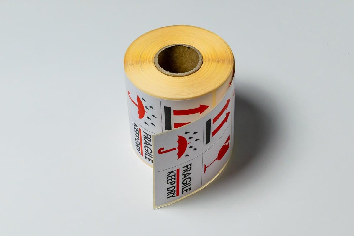 """Waarschuwingsetiketten """"Fragile - Keep dry"""" - 100 x 100mm (500 st)"""