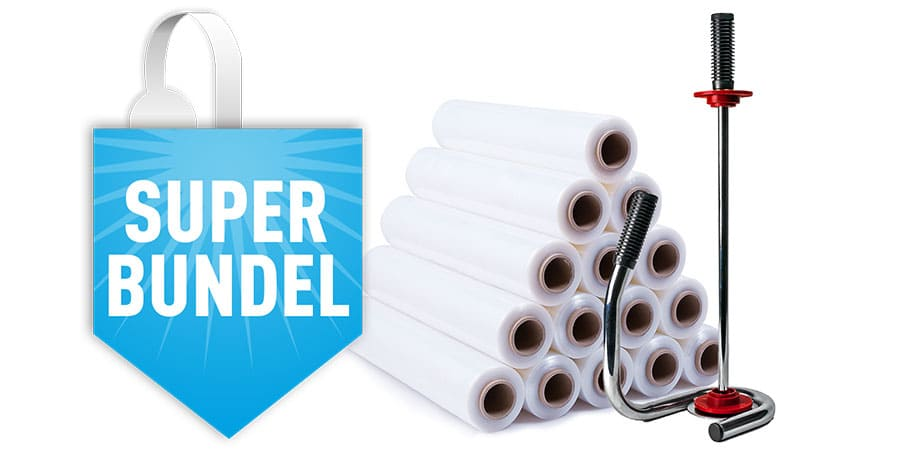 Handwikkelfolie transparant - 50cm x 300m x 20my (6 st) + dispenser chroom